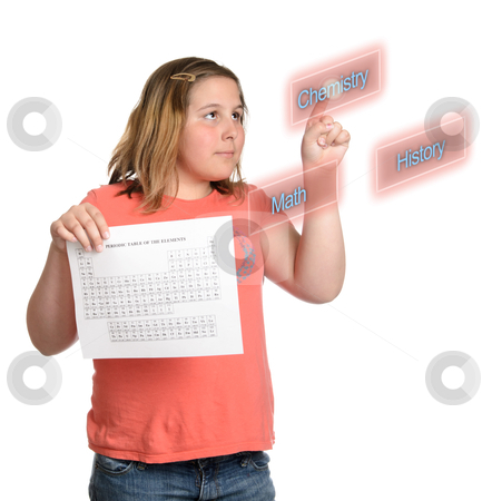 Choosing School Subjects stock photo, A young girl is choosing chemistry as one of her school subjects, isolated against a white background. by Richard Nelson