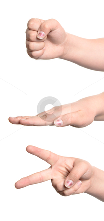 Rock Paper Scissors stock photo, Decision making game of rock paper scissors, isolated against a white background. by Richard Nelson