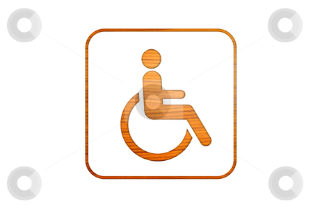 Wheelchair symbol in wood stock photo, wheelchair symbol in wood by rufous
