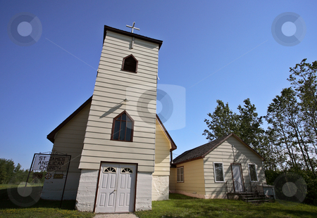 A small country church in scenic Saskatchewan stock photo, a small country church in scenic Saskatchewan by Mark Duffy