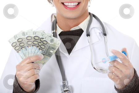 Happy doctor with money. stock photo, Happy doctor with money. Isolated on white background  by Piotr_Marcinski