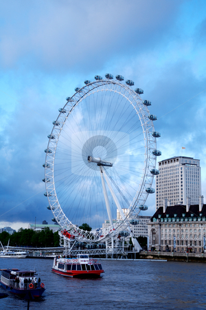 London Eye in London. stock photo, View the London Millennium Eye, travel and tourism by instinia