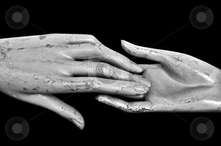 Hands of time stock photo, Weathered hands of plastic mannequin doll. Black and white. by sirylok