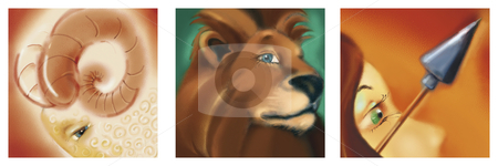 Aries, leo and sagittarius zodiac signs stock photo, illustration of aries, leo and sagittarius fire zodiac signs by Igor Zakowski