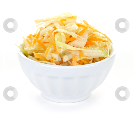 Bowl of coleslaw stock photo, Bowl of coleslaw with shredded cabbage isolated on white background by Elena Elisseeva