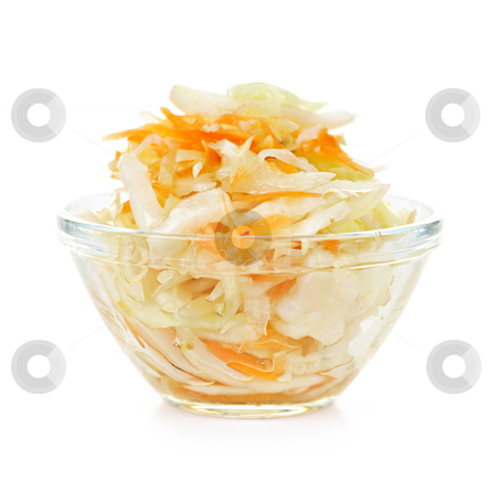 Bowl of coleslaw stock photo, Coleslaw in glass bowl on white background by Elena Elisseeva