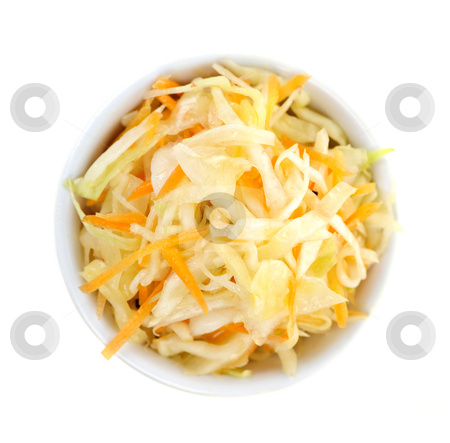 Bowl of coleslaw from above stock photo, Bowl of coleslaw on white background from above by Elena Elisseeva