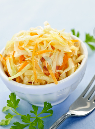Bowl of coleslaw stock photo, Bowl of fresh coleslaw with shredded cabbage by Elena Elisseeva