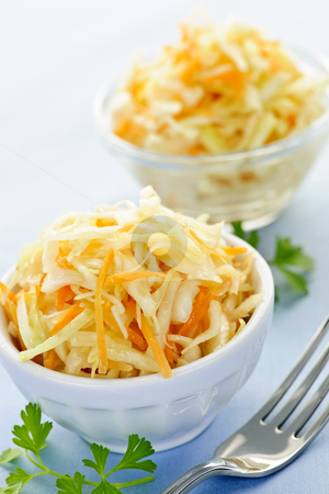 Bowls of coleslaw stock photo, Two bowls of fresh coleslaw with shredded cabbage by Elena Elisseeva