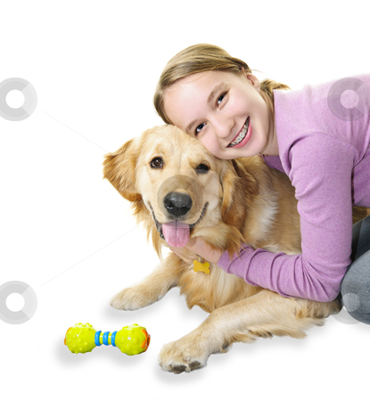 Girl hugging golden retriever dog stock photo, Teenage girl hugging golden retriever pet dog isolated on white background by Elena Elisseeva
