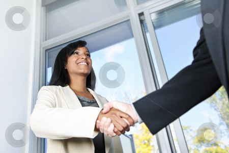 Business woman shaking hands stock photo, Portrait of black business woman shaking hands by Elena Elisseeva