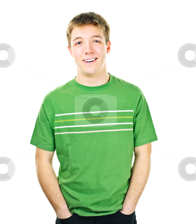 Confident young man stock photo, Happy young man standing isolated on white background by Elena Elisseeva