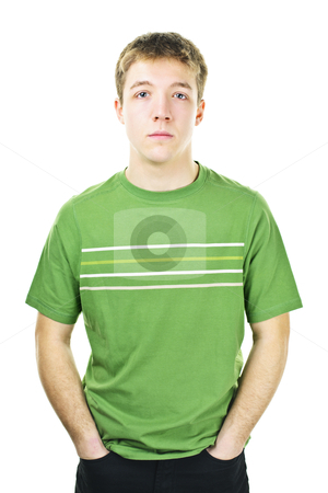 Young man stock photo, Serious young man standing isolated on white background by Elena Elisseeva
