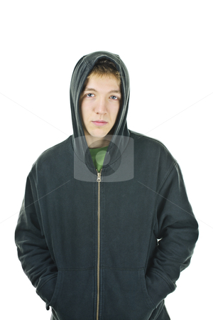 Young man in hoodie stock photo, Serious young man standing wearing hoodie isolated on white background by Elena Elisseeva
