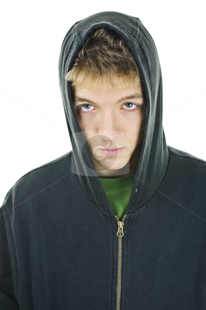 Young man with attitude stock photo, Young man with attitude wearing hoodie isolated on white background by Elena Elisseeva