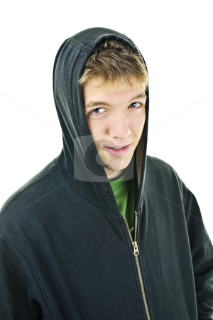 Young man in hoodie smiling stock photo, Portrait of smiling young man wearing hoodie isolated on white background by Elena Elisseeva