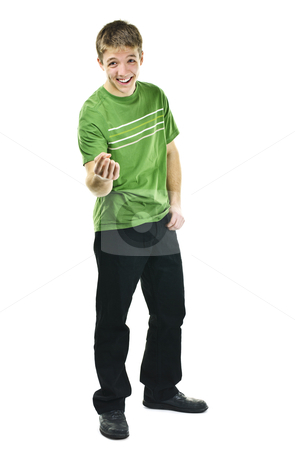 Young man laughing and pointing stock photo, Laughing young man standing full body isolated on white background by Elena Elisseeva
