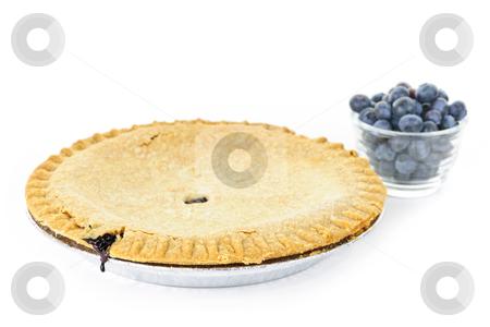Blueberry pie stock photo, Whole blueberry pie with fresh wild blueberries isolated on white background by Elena Elisseeva