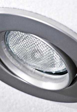 Pot light in ceiling tile stock photo, Closeup of pot light recessed lighting in ceiling tile by Elena Elisseeva