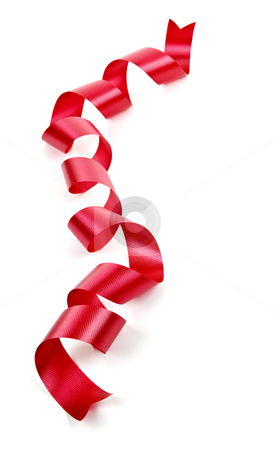 Curled red holiday ribbon stock photo, Curled red holiday ribbon strip isolated on white background by Elena Elisseeva