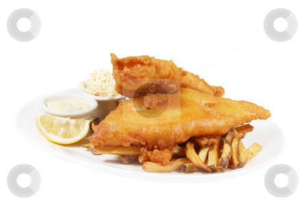 Fish and chips stock photo, isolated plate of fish and chips with tarter sauce and coleslaw by Sherrie Smith