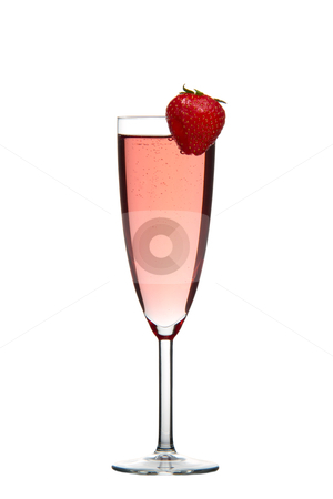 Red champagne drink with Strawberry isolated stock photo, Sparkling red champagne drink with Strawberry isolated on white background by Gert Lavsen
