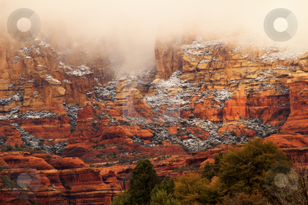 Boynton Red Rock Canyon Snow Clouds Sedona Arizona stock photo, Boynton Red Rock Canyon Snow Clouds Green Trees Sedona Arizona by William Perry
