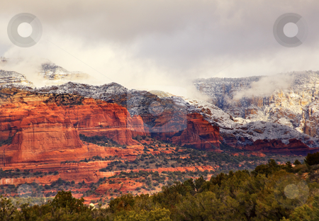 Boynton Red White Rock Canyon Snow Clouds Sedona Arizona stock photo, Boynton Red White Rock Canyon Snow Clouds Green Trees Forest Sedona Arizona by William Perry