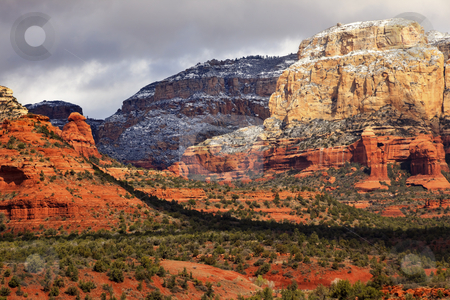 Boynton Red White Rock Canyon Snow Clouds Sedona Arizona stock photo, Boynton Red White Rock Canyon Snow Clouds Green Trees Sedona Arizona by William Perry