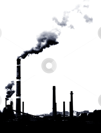 Pollution smoke stock photo, Contrast concept of global warming in b&w .Pollution smoke from factory by borojoint