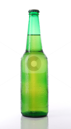 Beer bottle stock photo, Beer bottle in white background by bakelyt