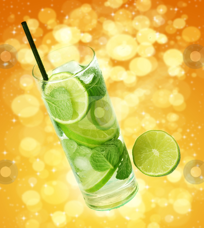 Mojito cocktail stock photo, Mojito cocktail in abstract background by bakelyt