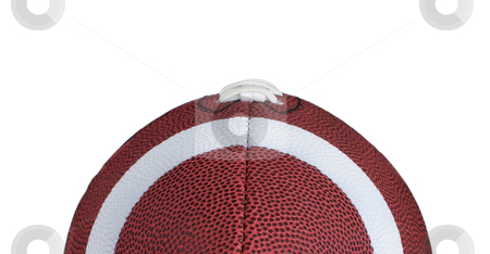 Top Half of Football Isolated on White stock photo, Incredible detailed view down the nose of a leather football. by David Schliepp