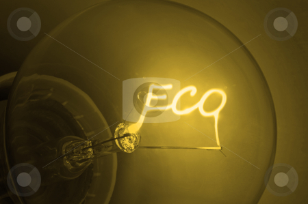 "Golden ecological  energy. stock photo, Close up on illuminated yellow light bulb filament spelling the word ""Eco"". by Samantha Craddock"