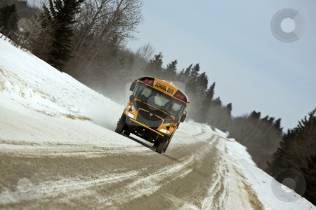 School bus in winter stock photo, school bus in winter by Mark Duffy