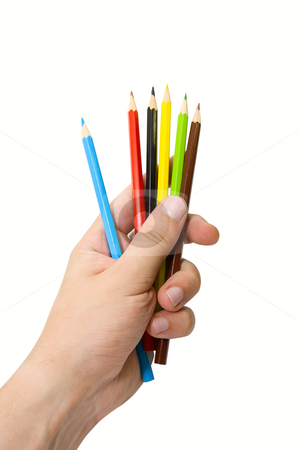 Hand with pencils stock photo, Hand with pencils on white background by olinchuk