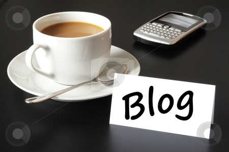Blog stock photo, blog and cup of coffee with copyspace showing internet or rss concept by Gunnar Pippel