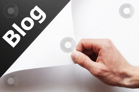 Blog stock photo, rss internet or web blog concept with hand holding paper by Gunnar Pippel