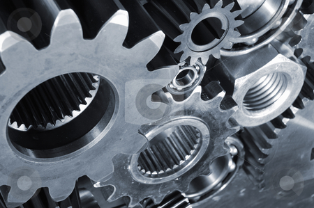 Titanium and steel power stock photo, industrial titanium and steel gears and pinions, engineering concept, blue toning idea by lagereek