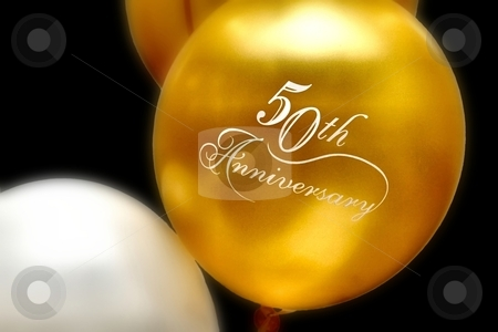 Anniversary Balloons stock photo, 50th anniversary balloons by Karma Shuford