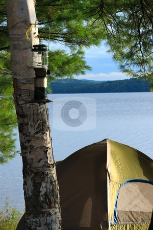 Tent Camping stock photo, Tent Camping on Shore of a Wilderness Lake by Bill Mack