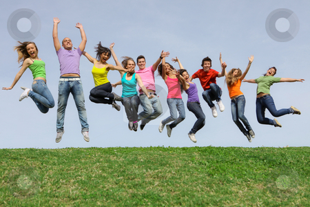 Happy smiling diverse mixed race group jumping stock photo, Happy smiling diverse mixed race group jumping by mandygodbehear