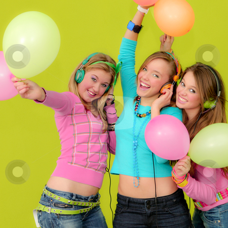 Neon party fashion girls with balloons stock photo,  by mandygodbehear