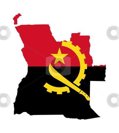 Angola flag on map stock photo, Illustration of Angola flag on map of country; isolated on white background. by Martin Crowdy