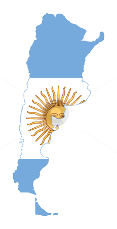 Argentina flag on map stock photo, Illustration of Argentina flag on map of country; isolated on white background. by Martin Crowdy