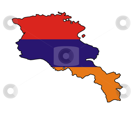Armenia flag on map stock photo, Illustration of Armenia flag on map of country; isolated on white background. by Martin Crowdy