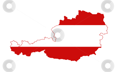 Austria flag on map stock photo, Illustration of Austria flag on map of country; isolated on white background. by Martin Crowdy