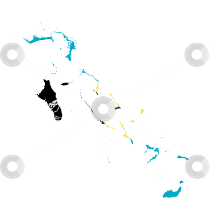 Bahamas flag map stock photo, Illustration of Bahamas flag on map of country; isolated on white background. by Martin Crowdy