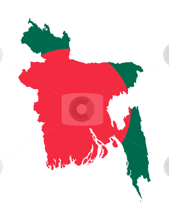 Bangladesh flag map stock photo, Illustration of Bangladesh flag on map of country; isolated on white background. by Martin Crowdy