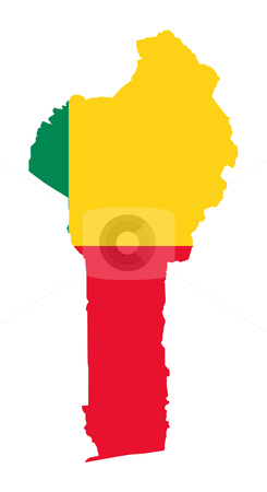 Benin flag map stock photo, Illustration of Benin flag on map of country; isolated on white background. by Martin Crowdy